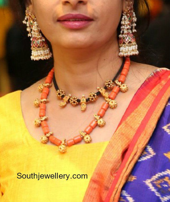 Coral Beads Necklace and Black Thread Choker photo