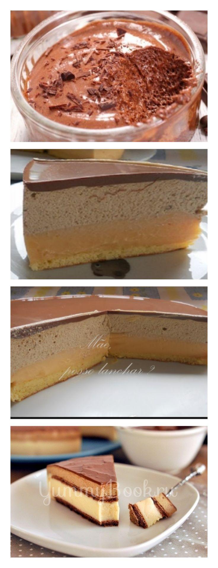 Torta Mousse de Café e Caramelo salve este pin  – Ferva a água, adicione o café solúvel, deixe esfriar e reserve. º – Em uma batedeira, coloque os ovos e o açúcar e deixe bater até pegar um pouco de corpo. #bolo#torta#doce#sobremesa#aniversario#pudim#mousse#pave#Cheesecake#chocolate