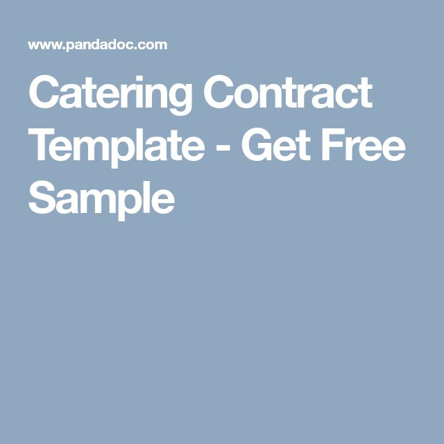 Catering Contract Template - Get Free Sample