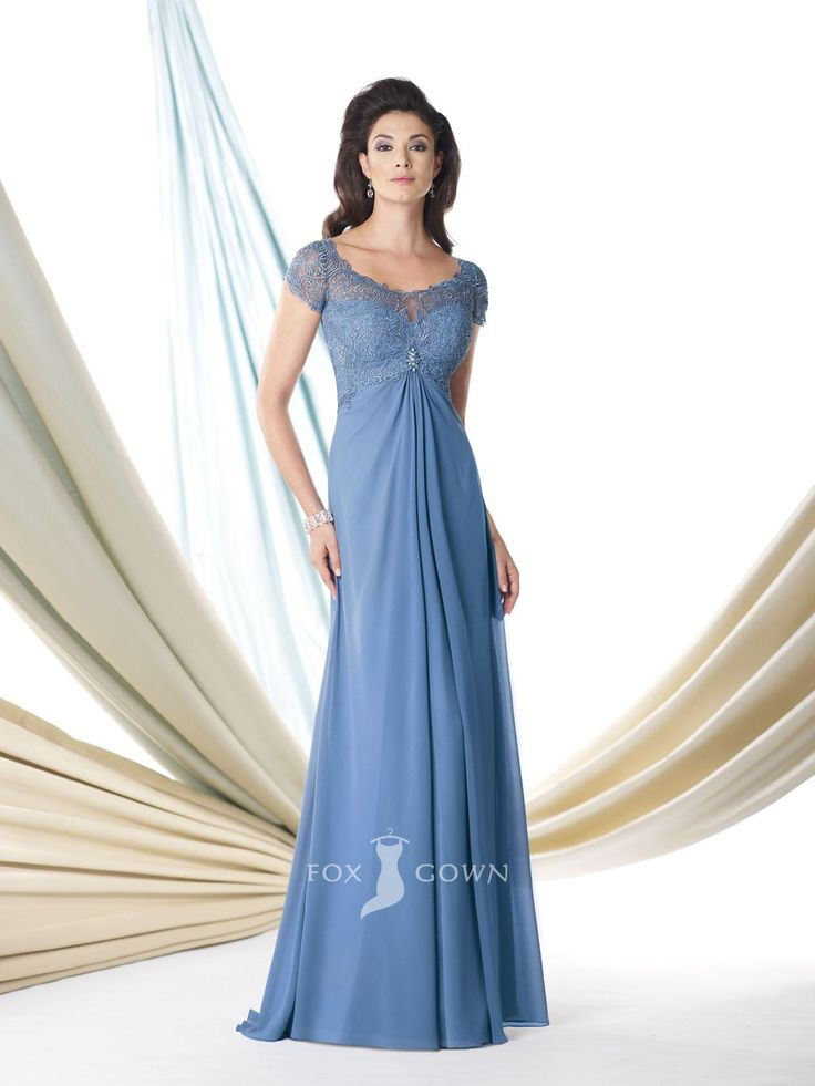 Floor Length A Line Mother Of The Bride Dressblue Chiffon Cap Sleeve Scoop Neck Lace Bodice Empire Long Dress