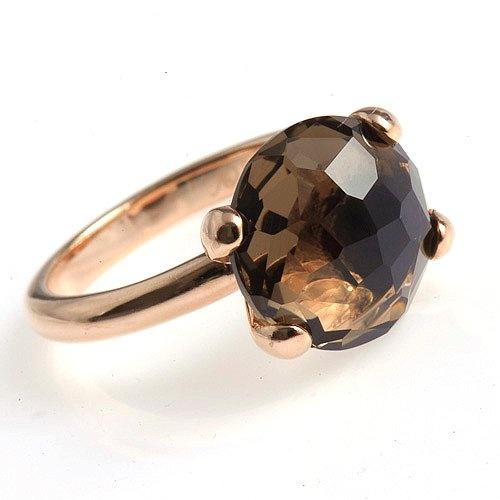 Cocktail Ring with Facetted Smoky Quartz Stone - 79 €