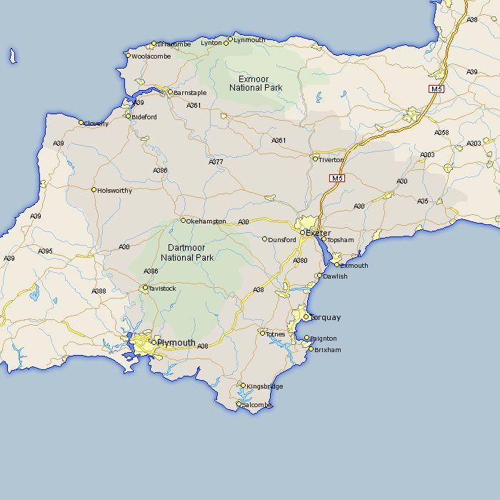 South Devon England Map.Devon County Map Brit Lit Maps Of Counties Towns Roads Rail