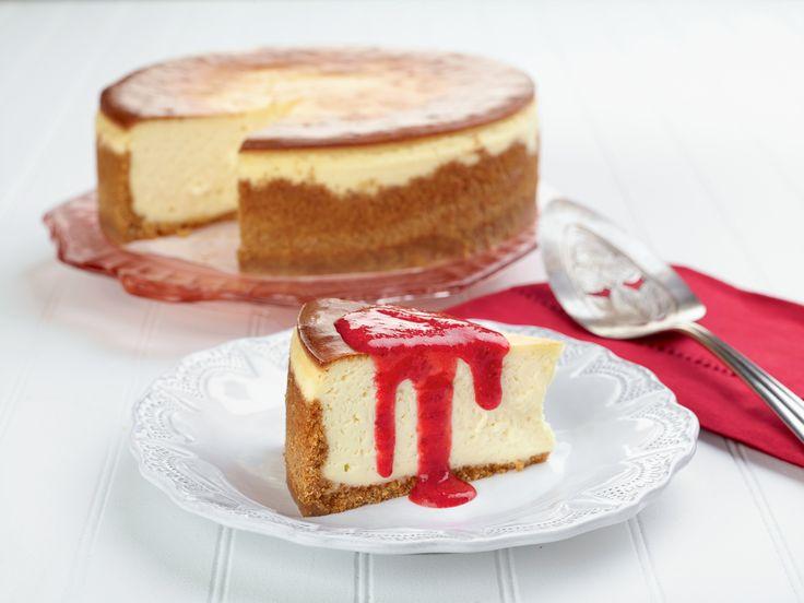 "Joe's ""Say Cheese"" Cheesecake with Fresh Strawberry Sauce Recipe : Trisha Yearwood : Food Network - FoodNetwork.com"