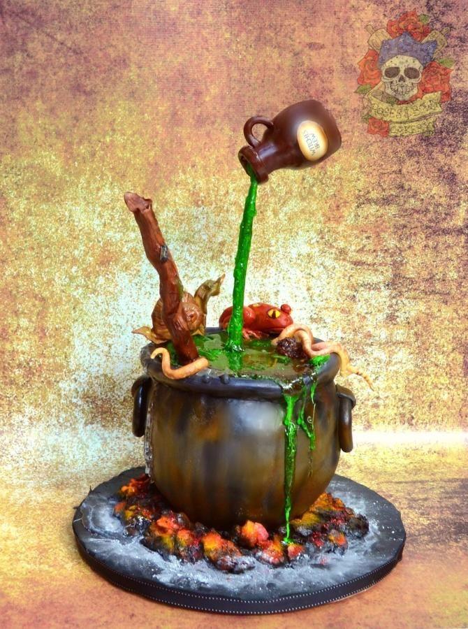 Gravity defying witches cauldron cake  - Cake by Karen Keaney