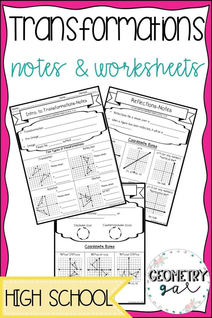Transformations Notes And Worksheets Great For A High School Geometry Class These Notes Cover Tr High School Geometry Notes Geometry High School Guided Notes [ 1104 x 736 Pixel ]