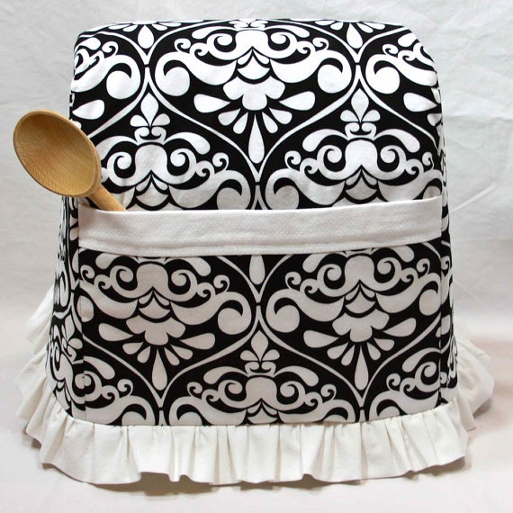 Stand Mixer Cover Black & White Damask With White By