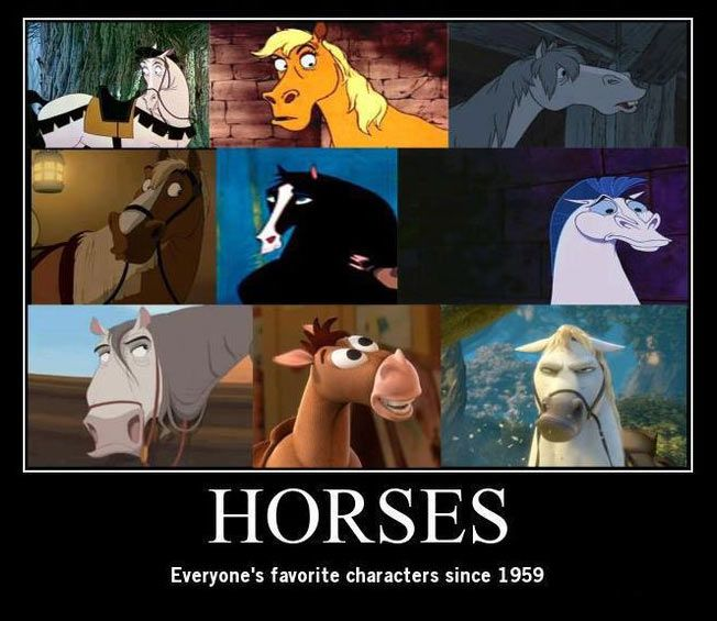 Samson from Sleeping Beauty, Frou Frou from Aristocats, Major from Cinderella, Phillipe from Beauty and the Beast, Kahn from Mulan, Pegasus from Hercules, Altivo from The Road to El Dorado, Bullseye from Toy Story, and Maximus from Tangled