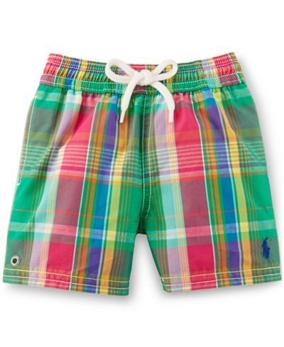 Ralph Lauren Baby Boys\u0026#39; Plaid Swim Trunks - Baby Boy (0-24 months