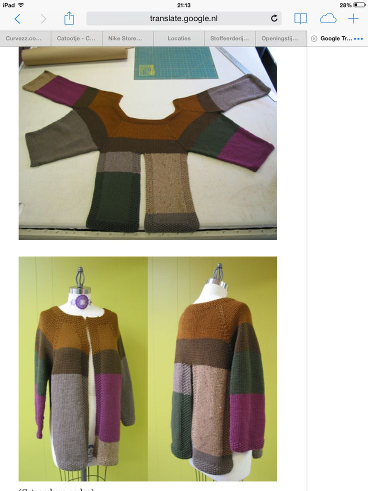 Inspiration to create a sweater from scraps in this shape. I think I would bring the seams together though. At least on the sides and back.