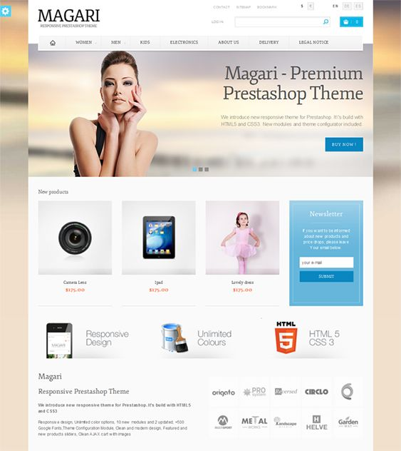 This Bootstrap PrestaShop theme includes a responsive design, 500+ Google Fonts, unlimited colors, new and featured product sliders, a Facebook module, 10 background patterns, an Ajax cart, cross-browser compatibility, and more.