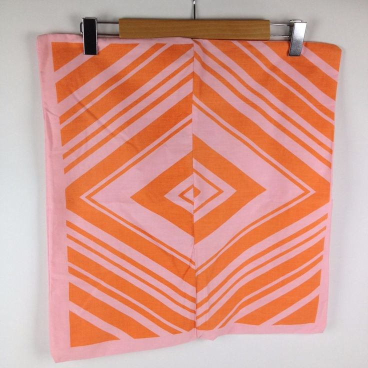 """Vintage Unfinished 20"""" X 19"""" Pink Orange Throw Pillow Case Cover Mod Groovy 70s"""