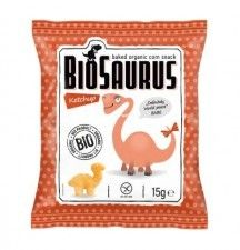 BIOSAURUS bio chrupki kukurydziane KETCHUP 15g sklep ze zdrową żywnościa, bio żywność, zdrowa żywność dla dzieci ,biotojestto.pl