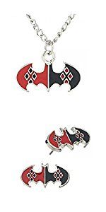 Amazon.com: Dc Comics Harley Quinn Symbol Charm Necklace and Earring Stud Set New Licensed: Jewelry