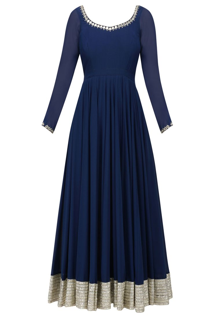 Navy blue gota patti lace work flared kurta set available only at Pernia's Pop Up Shop.