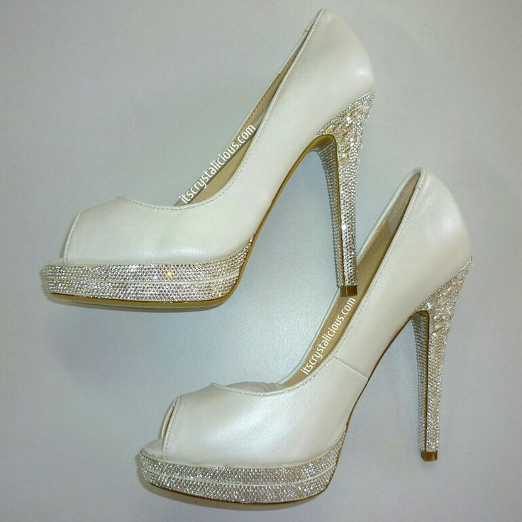 The Perfect Wedding Shoe with not too much Bling  My customer sent her Tony Bianco shoes to us and they were custom embellished with over 4000 Genuine SWAROVSKI® Baguettes and ELEMENTS on the double platform, heel and inside heel   Please Email info@itscrystalicious.com for details