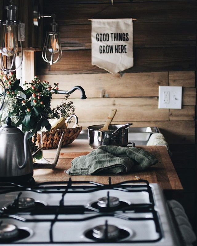 woos paneling, wood counter, old school stove, light fixtures  http://www.oldschoolparties.co.za