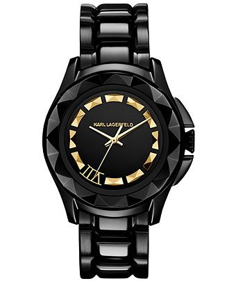 Karl Lagerfeld Watch, Women's Black Ion-Plated Stainless Steel Bracelet 36mm KL1006 - Women's Watches - Jewelry & Watches - Macy's