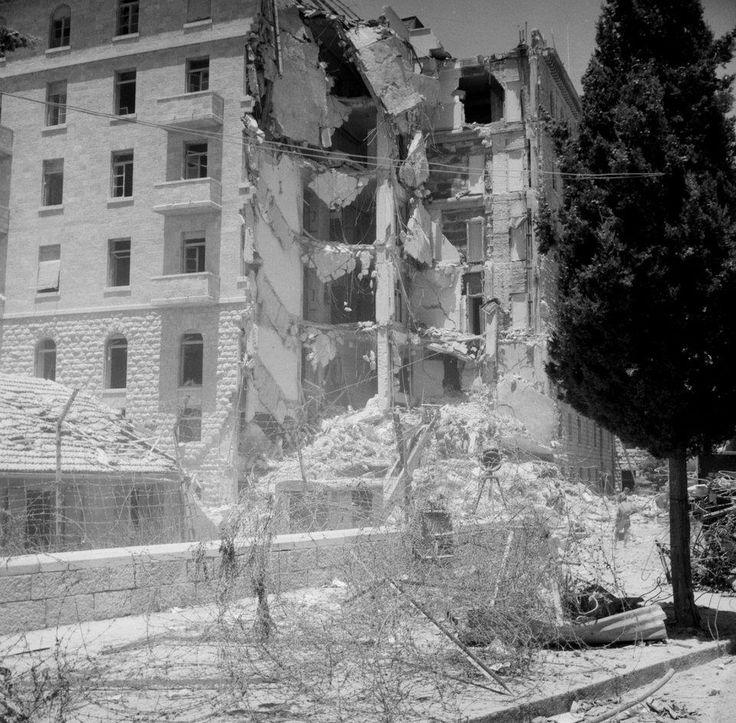 British soldiers attending after the bomb blast at King David hotel by Jewish Terrorists in Jerusalem, Palestine - circa July 22nd 1946