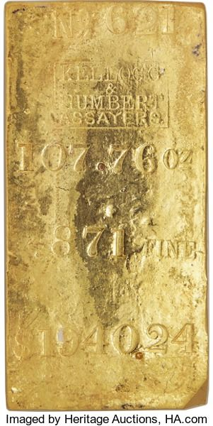 S.S. Central America Gold Bars, Kellogg & Humbert Gold Ingot. 107.76 Ounces....