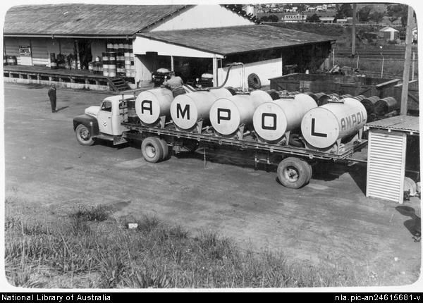 An Ampol tanker at the filling point in the Goulburn depot, November, 1954 [picture] .