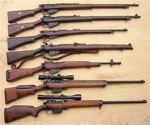 The Lee-Enfield line - well, most of it: Long Lee-Enfields; Carbine; SMLE; No.5; L42A1; Sporterised No.4.  But where's the basic No.4 ?
