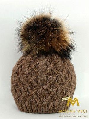 Dámska pletená čiapka s bambuľou z pravej kožušiny čokoládovo hnedá  10