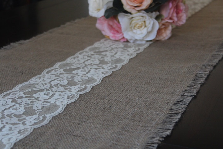 Burlap Lace Table Runner Weddings Home Decor By Cutesycorner Burlap And Lace