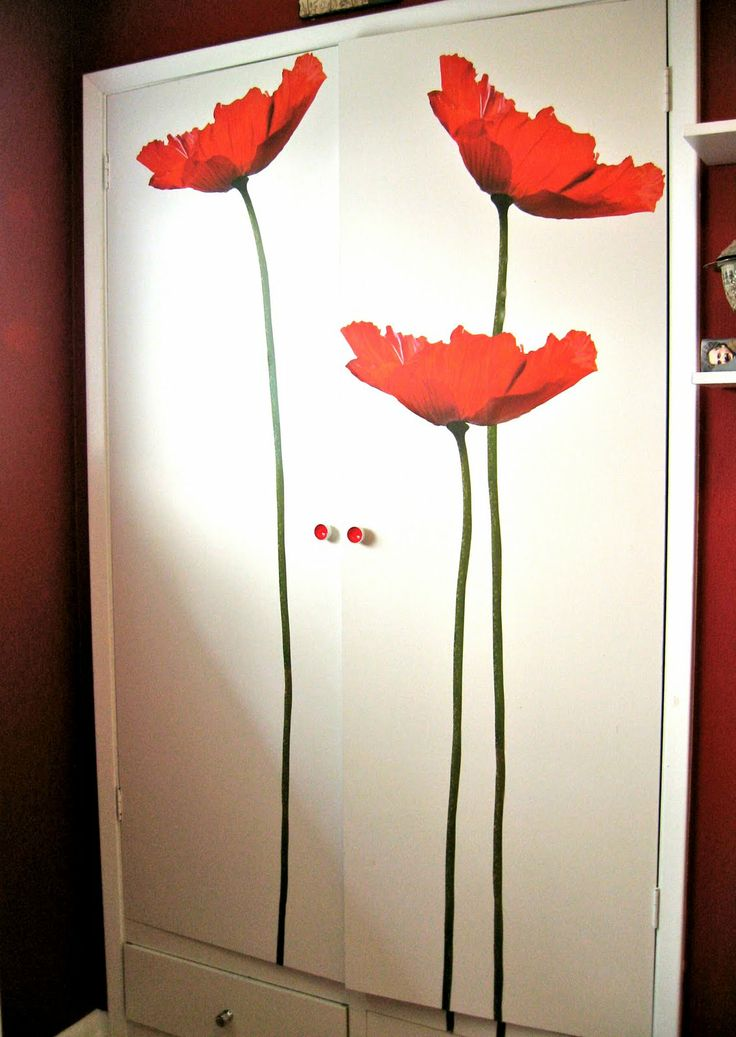 giant flower wall decals | ... transforamation project using wall  decoration stickers and door