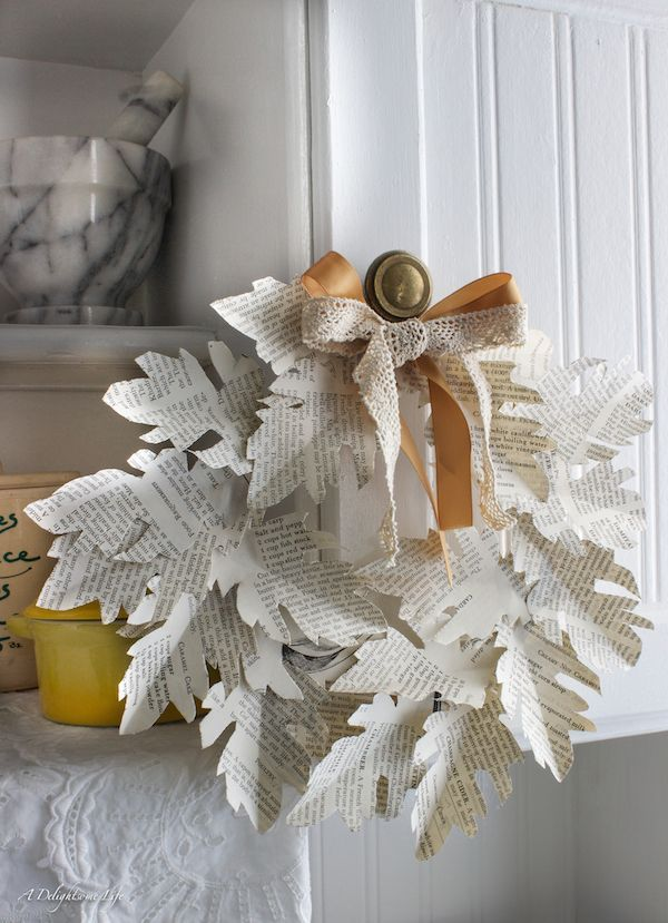 book page leaf wreath.>>newspaper would work too