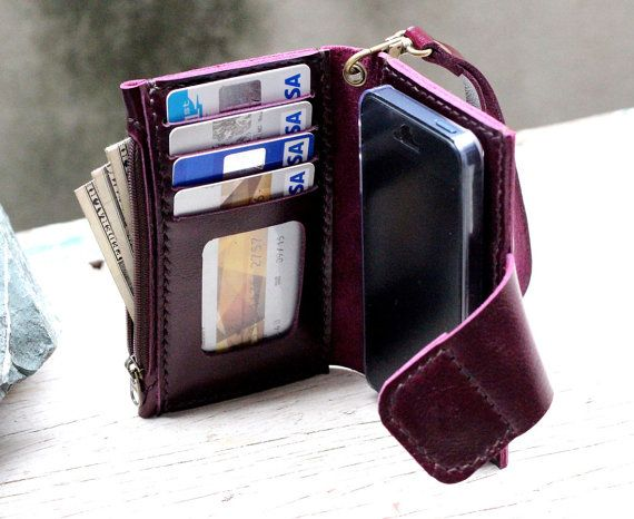 iPhone5/ Magnetic/ Purple leather iPhone wallet with case and mini zip/ wristlet strap