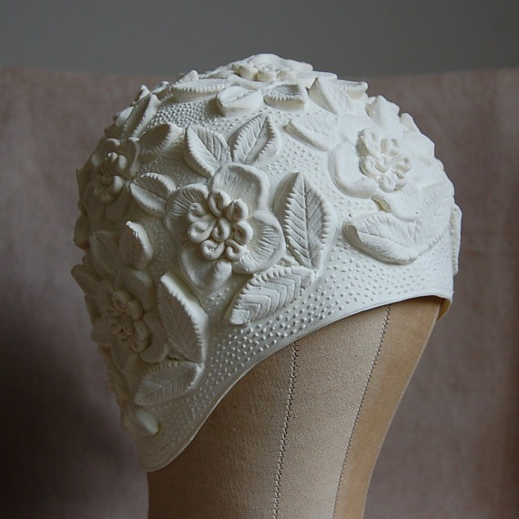 1950s White Bathing Cap by DressCastles on Etsy, $34.99