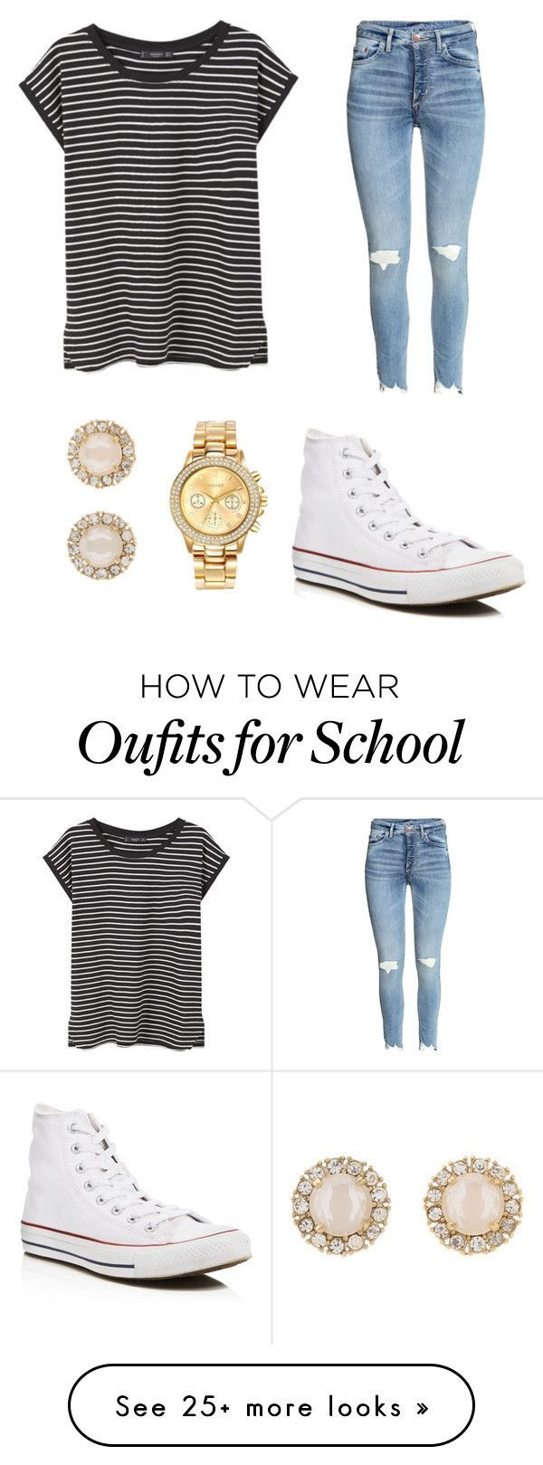"""Casual back to school outfit"" by chalverson on Polyvore featuring MANGO, Converse, Mestige and Kate Spade"