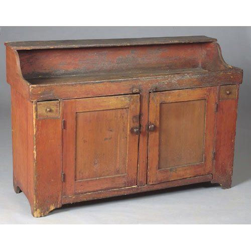 Merveilleux Dry Sink With Old Red Wash,
