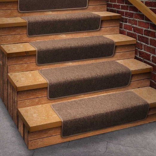 13 Attachable Basement Step Carpet Stair Treads