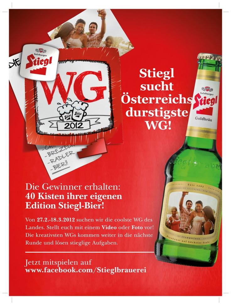 Stiegl sucht Österreichs durstigste WG! Auf die Gewinner warten 40 Kisten Bier mit eigenem Etikett...