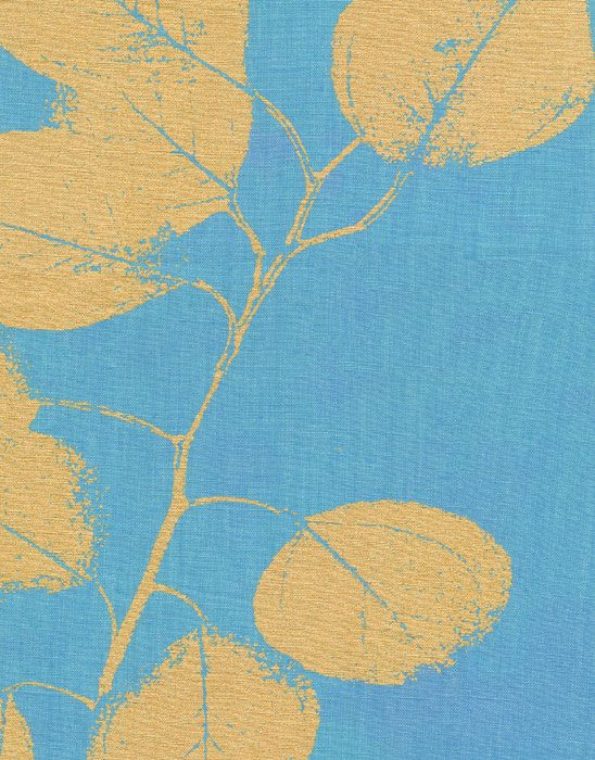 Leaf Turquoise Gold Linen Fabric