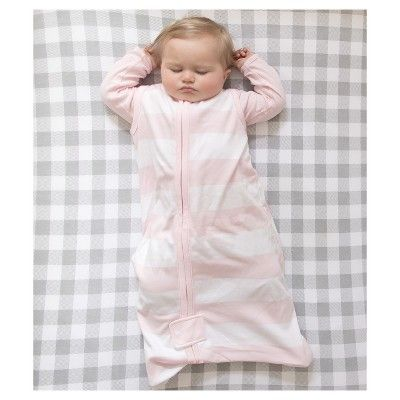 Burt's Bees Baby Organic Cotton Wearable Blanket - Rugby Stripes - Pink - L