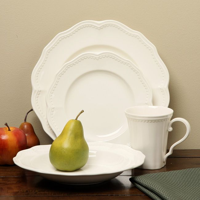 Red Vanilla Classic White Dining Set   Overstock Shopping   Great Deals On  Red Vanilla Casual Dinnerware