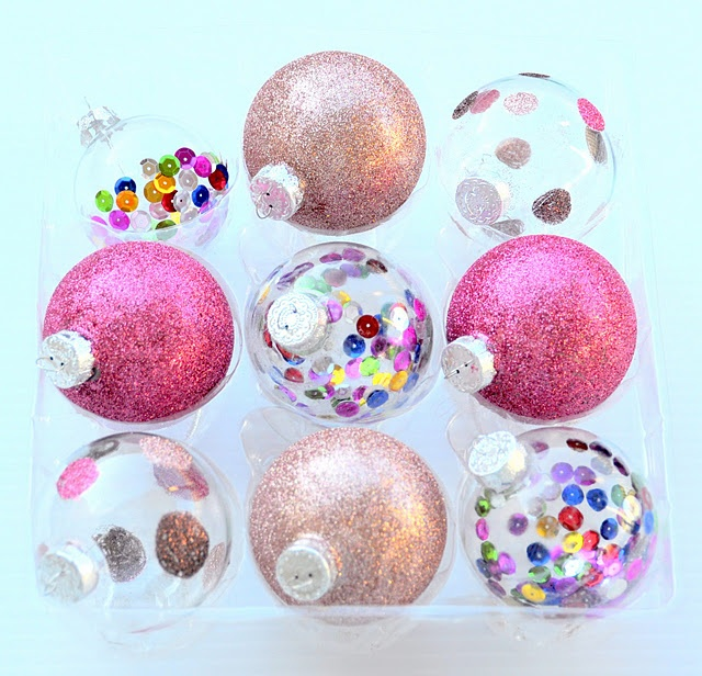 diy glitter & sequin ornaments. Would love to do this
