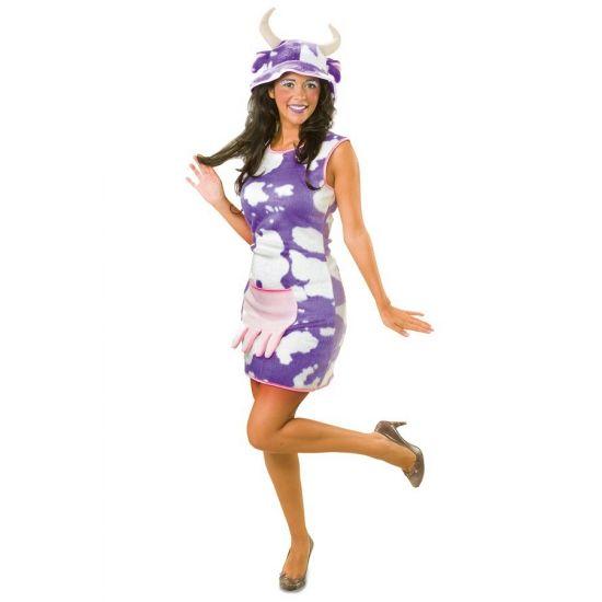 Pluche jurk met koe print lila. Deze jurk is gemaakt van pluche en heeft een lila gekleurde koeienprint. De uier op de buik is een zakje. Excl. hoed, deze is ook niet verkrijgbaar bij ons.
