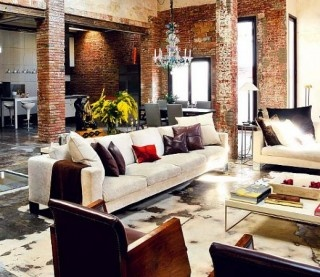 brick: Interior Design, Idea, Livingroom, Brick, Living Room, Loft, Apartment, House, Space