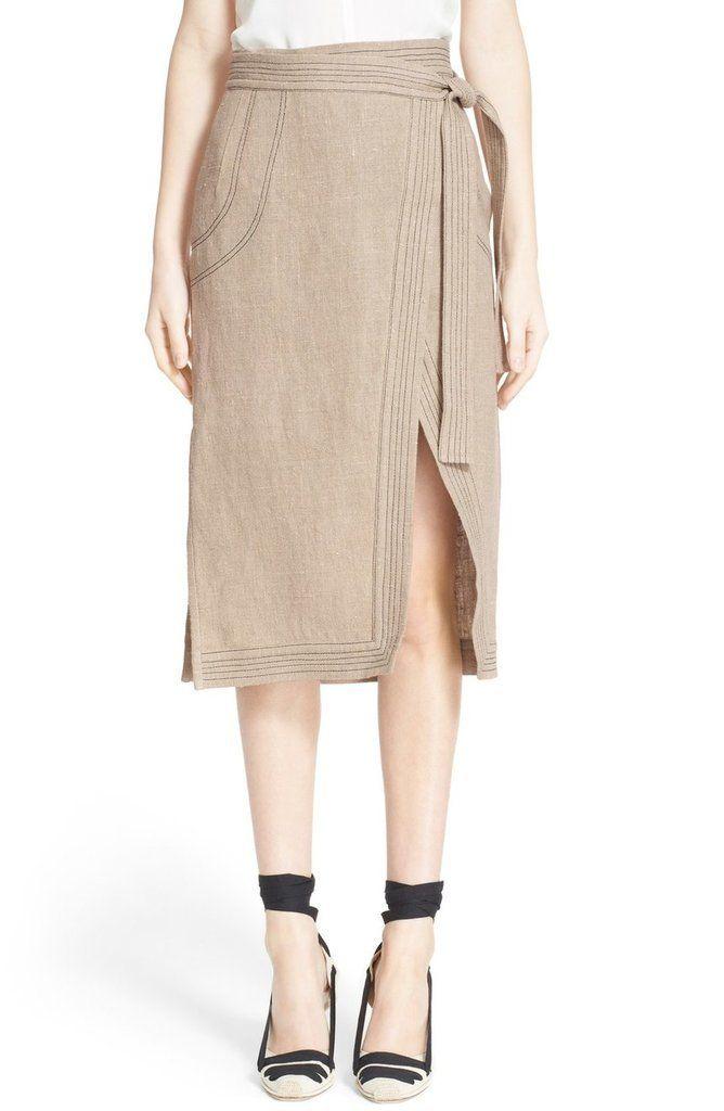 Altuzarra 'Ronin' Contrast Stitch Linen Skirt ($1,595)