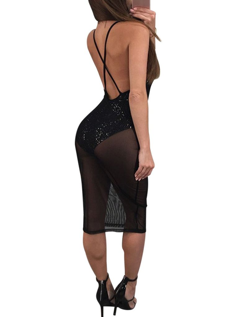 Black Deep V-Neck Sheer Mesh Bodysuit Dress_Club Dress_Clubwear Clothing_Sexy Lingeire | Cheap Plus Size Lingerie At Wholesale Price | Feelovely.com