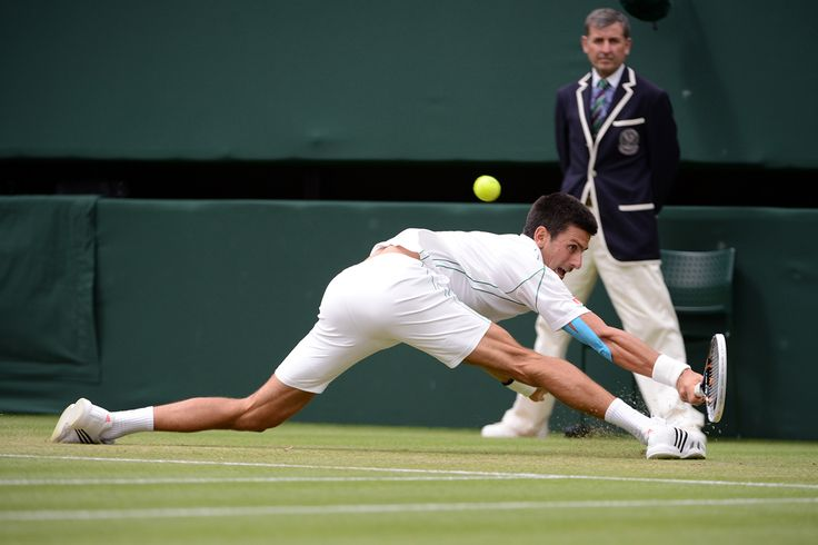 Novak Djokovic stretches to retrieve a shot from Radek Stepanek. - Matthias Hangst/AELTC