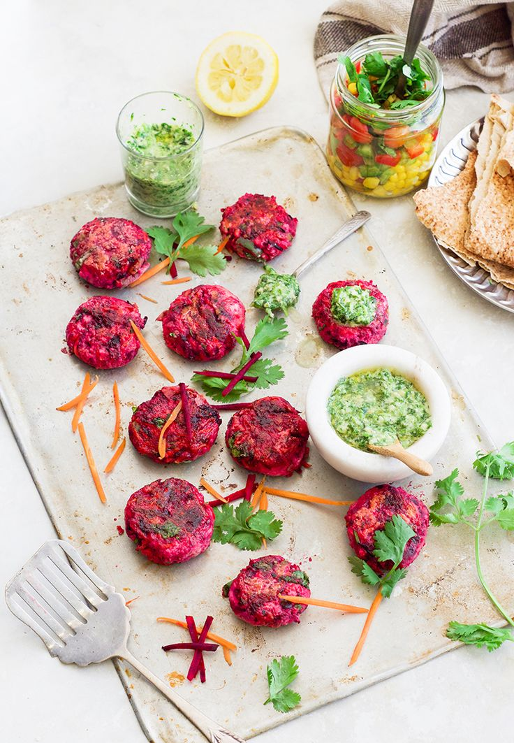 Beetroot patties with coriander cashew pesto