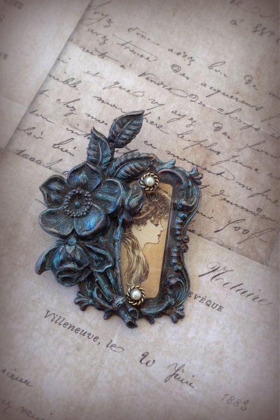 Lady in a Garden Brooch. Romantic. Victorian by ClockHandsGoneMad