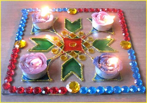 Craft for kids | Glass Rangoli - DIY!  This is gorgeous!  And kid friendly too!