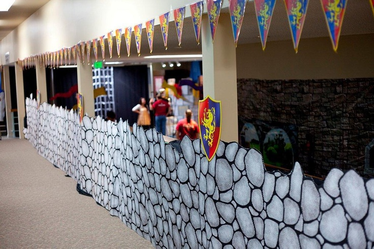"""Here in Group VBS Village, we are always looking to take things up a notch. This year we discovered a SUPER SIMPLE way to """"up"""" the impact of our stone wall corobuff-- cutting around the stones! This makes the corobuff look much more natural and lifelike-- kids loved it! It's an easy, little detail that makes a BIG difference! Happy decorating!"""
