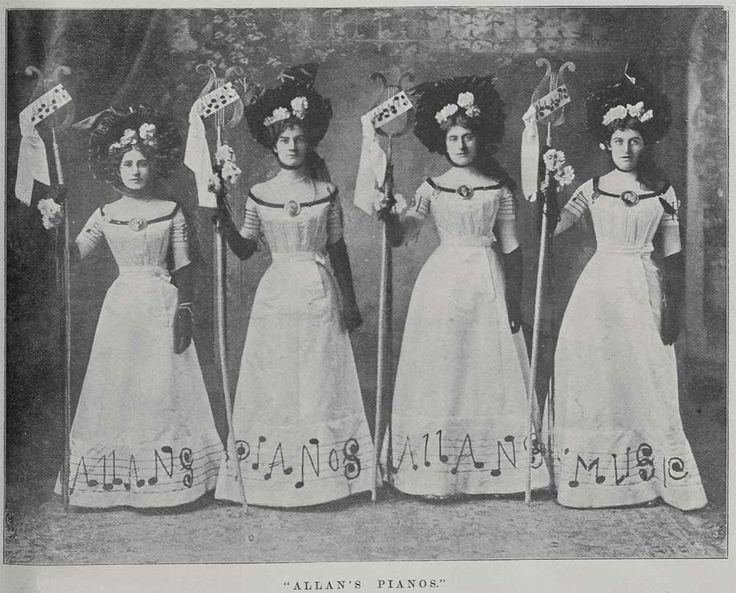 These women, who are advertising Allan & Co's Music Warehouse won the prize design at the Great Poster ball held in Melbourne in September 1900. The novel nature of the fund-raising ball was reported throughout New Zealand, and by 1901 Poster Balls were being held throughout the country.