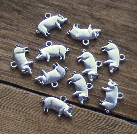 10 Pig Charms by beadingshaz on Etsy, £1.25